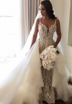 Gorgeous Lace Mermaid Wedding Dresses Cheap with Detachable Train   Straps Sexy Sleeveless Bride Dress_1