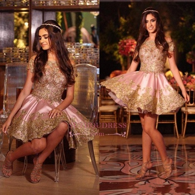 Pink Appliques Short  Online Lace Gold Off-The-Shoulder Lovely Homecoming Dress_1