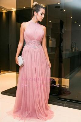 Candy-Pink Open-Back Tulle Sleeveless Long Halter Beaded Evening Dress_4