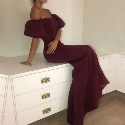 Off The Shoulder Burgundy Formal Evening Dresses  Mermaid  Prom Dress_5
