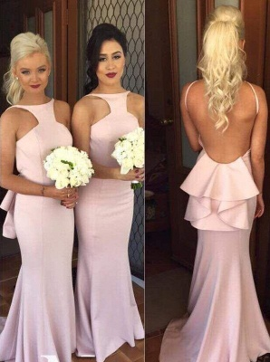 Backless Mermaid Bridesmaid Dresses Sexy Spaghetti Straps  Sleeveless Evening Dresses with Open Back_3