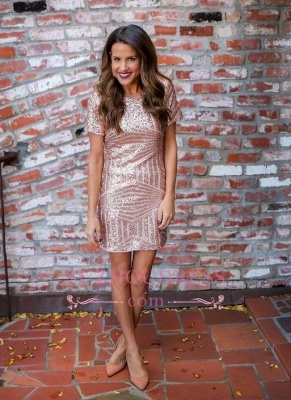 Sequins Short Sleeves Elegant Sheath Short Homecoming Dresses_3