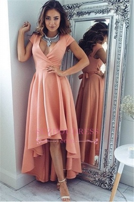 V-Neck A-Line Sexy Hi-Lo  Summer Formal Party Dress Short Sleeves Evening Dresses qq0321_2