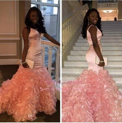 V-neck Pink Ruffles Sexy Evening Gown Sleeveless Mermaid Prom Dress_1
