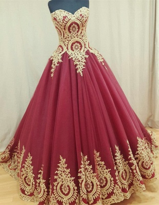 Sweetheart Burgundy Long Evening Dresses Gold Lace Appliques Formal Dresses  BA4661_1