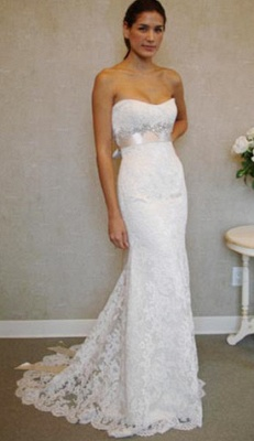 Empire Sexy White Lace Long Wedding Dress Popular Crystal Bowknot Sweep Train Bridal Gowns_1