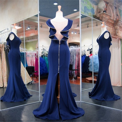 Dark Navy V-Neck Mermaid Prom Dresses  Split Sexy Evening Gowns with Zipper_4