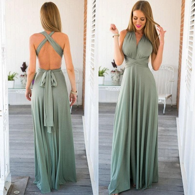 Sexy Halter Open Back Evening Dress Sleeveless Formal Dress with Back Sash_3