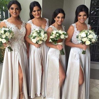 Elegant Lace Bridesmaid Dress  Stretch Satin Split  Maid of Honor Dresses BA3805_3
