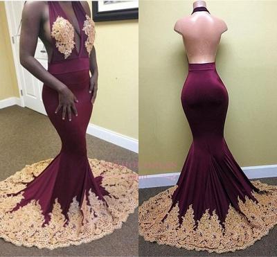 Mermaid Appliques  Backless Evening Dresses Deep-V-Neck Sexy Halter Prom Dress_1