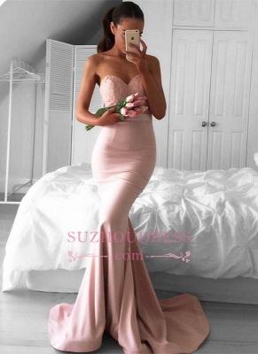 Sweetheart Mermaid Lace Evening Dress  Newest Sleeveless Sweep Train Prom Dress AN0_3