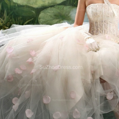 Wedding Dresses Strapless Sleeveless Ball Gown Tulle Flower Appliques White  Bridal Gowns_3