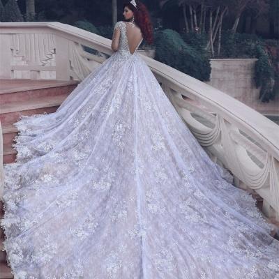 Luxury Sheer Muslim Cathedral Train  Crystal Beading Vintage Lace Wedding Dress BA6920_4