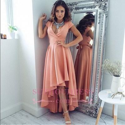 V-Neck A-Line Sexy Hi-Lo  Summer Formal Party Dress Short Sleeves Evening Dresses qq0321_1