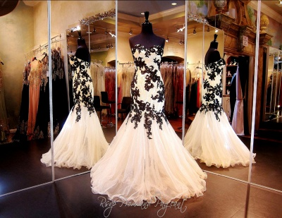 Sexy Mermaid Black Lace Evening Dresses Organza Sweetheart  Prom Gowns CE064_3