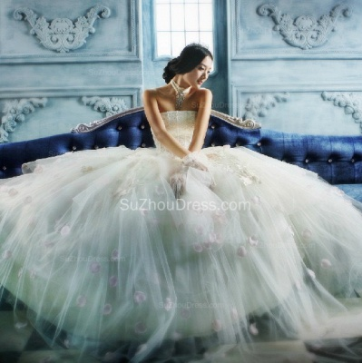 Wedding Dresses Strapless Sleeveless Ball Gown Tulle Flower Appliques White  Bridal Gowns_2