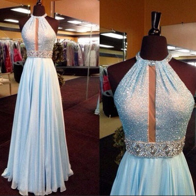 New Arrival Light Blue Sequin Long Prom Dress Chiffon Halter Crystals Belt Evening Gowns_3