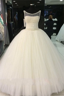Puffy Tulle  Wedding Ball Gowns Beading Pearls Bridal Gown_1