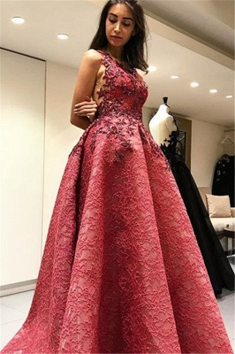Sexy Sleevelss Backless Lace Formal Evening Dresses  Appliques Prom Dress_1