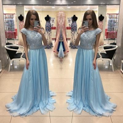 Elegant Blue Chiffon Evening Dress  | Lace Cap-Sleeve Long Formal Dress_3