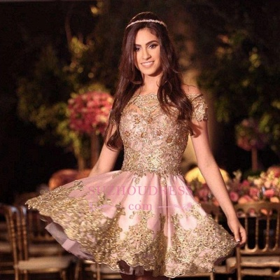 Pink Appliques Short  Online Lace Gold Off-The-Shoulder Lovely Homecoming Dress_4