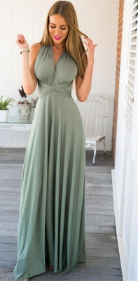 Sexy Halter Open Back Evening Dress Sleeveless Formal Dress with Back Sash_1
