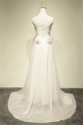 Zipper Whilte Chiffon Long Strapless Bridal Dresses A-line Ruffle Crystal Sweep Train Formal Wedding Dress Under 200_2