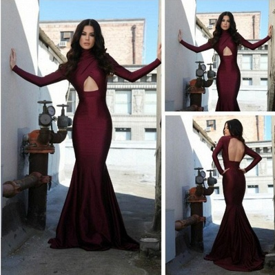 High Collar Sexy Long Sleeve Evening Dress Burgundy Mermaid Open Back Formal Occasion Dress_2