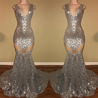 Shiny Silver Sequins Sexy Prom Dresses | Sleeveless   Evening Dress_3