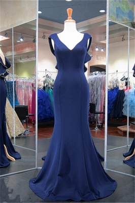 Dark Navy V-Neck Mermaid Prom Dresses  Split Sexy Evening Gowns with Zipper_1