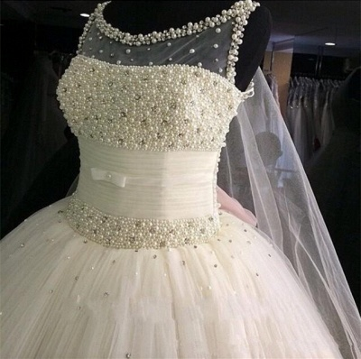 Puffy Tulle  Wedding Ball Gowns Beading Pearls Bridal Gown_3