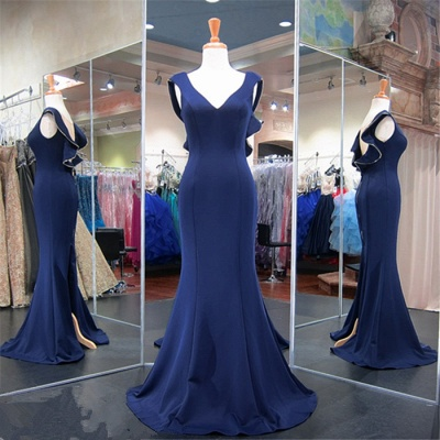 Dark Navy V-Neck Mermaid Prom Dresses  Split Sexy Evening Gowns with Zipper_5