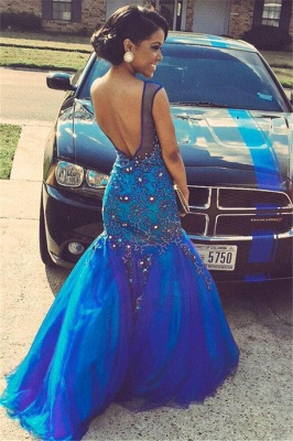 Pretty  Royal Blue Prom Dresses Mermaid Beading Evening Dress with Flowers_3