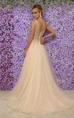 Affordable V-Neck Sleeveless Long Prom Dress Sexy Tulle Side Slit Formal Dresses with Crystals_3