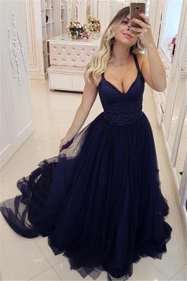 Dark Navy V-Neck Tulle Evening Dresses   Sleeveless Beadings Prom Dresses_1