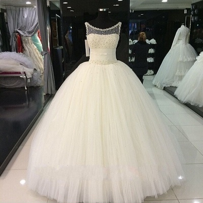 Puffy Tulle  Wedding Ball Gowns Beading Pearls Bridal Gown_4