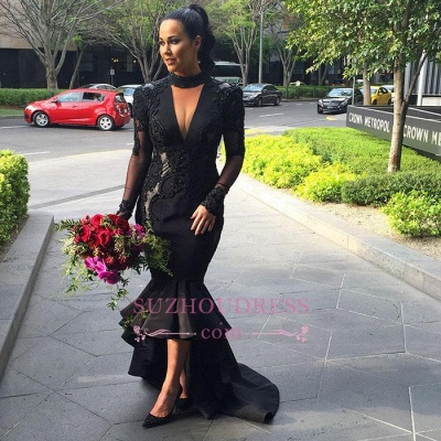 Hi-lo Puffy Mermaid Black Long-Sleeves Lace Appliques Deep-V-Neck Prom Dresses_1
