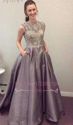 Crystal Sleeveless A-Line Elegant Pockets A-Line Prom Dress_2