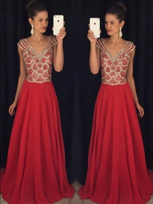 New Arrival V-Neck Chiffon  Prom Dress with Crystals Latest A-Line Formal Occasion Dresses_1