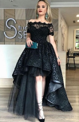Black Lace Off-the-Shoulder Evening Dress  Short Sleeves Hi-Lo Prom Dress_1