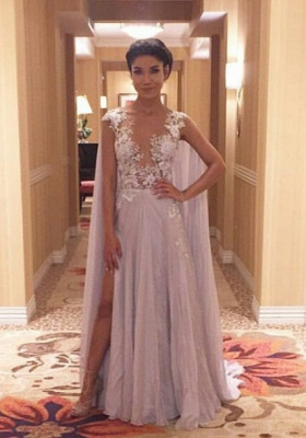 Latest A-Line Chiffon Sweep Train Prom Dress Lace Side Slit Formal Occasion Dress_1