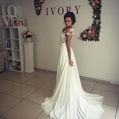 Stylish Lace Appliques Side Slit A-line Chiffon Beach Wedding Dresses | Bridal Gowns Online_6