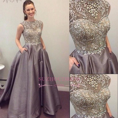 Crystal Sleeveless A-Line Elegant Pockets A-Line Prom Dress_1