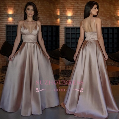 Simple V-Neck Sleeveless Prom Dress   Spaghetti-Straps A-line Evening Dresses_3