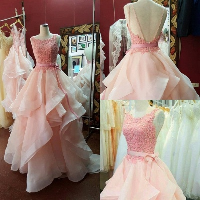 A-Line Pink Lace Tiered  Prom Dress Open Back Sleeveless Bowknot Party Gowns_5