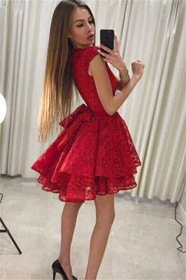 Simple A-Line Lace Short Homecoming Dresses |  Red Cap Sleeves Hoco Dresses_3