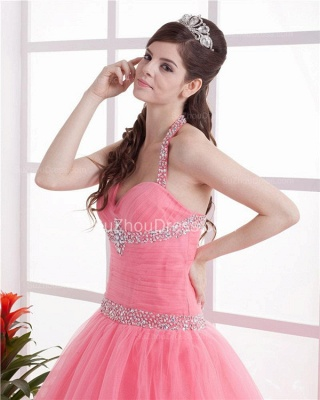 Elegant Halter Sleeveless Quinceanera Dresses  Sequins Crystal Floor Length Evening Dresses_3