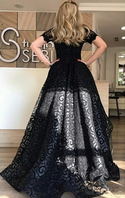 Black Lace Off-the-Shoulder Evening Dress  Short Sleeves Hi-Lo Prom Dress_3