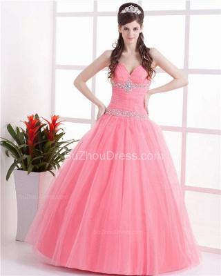 Elegant Halter Sleeveless Quinceanera Dresses  Sequins Crystal Floor Length Evening Dresses_1
