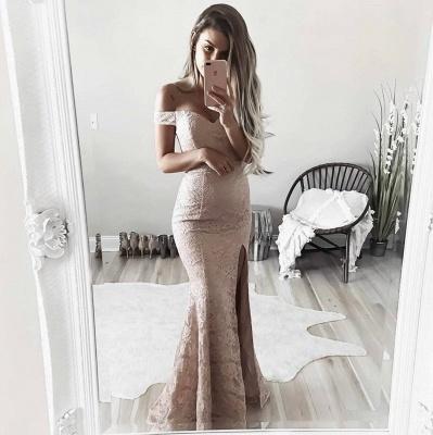 Sheath Full Lace Off The Shoulder Formal Dress   Side Slit Evening Gown BA6243_4